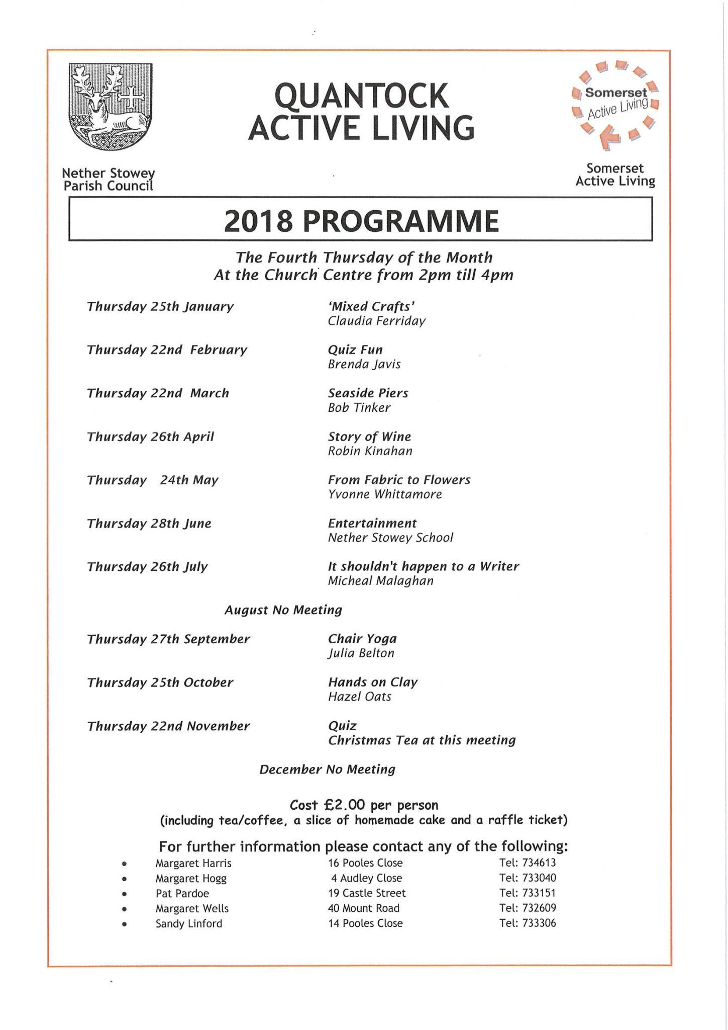 Quantock Active Living 2018 Programme @ Church Centre | Nether Stowey | England | United Kingdom