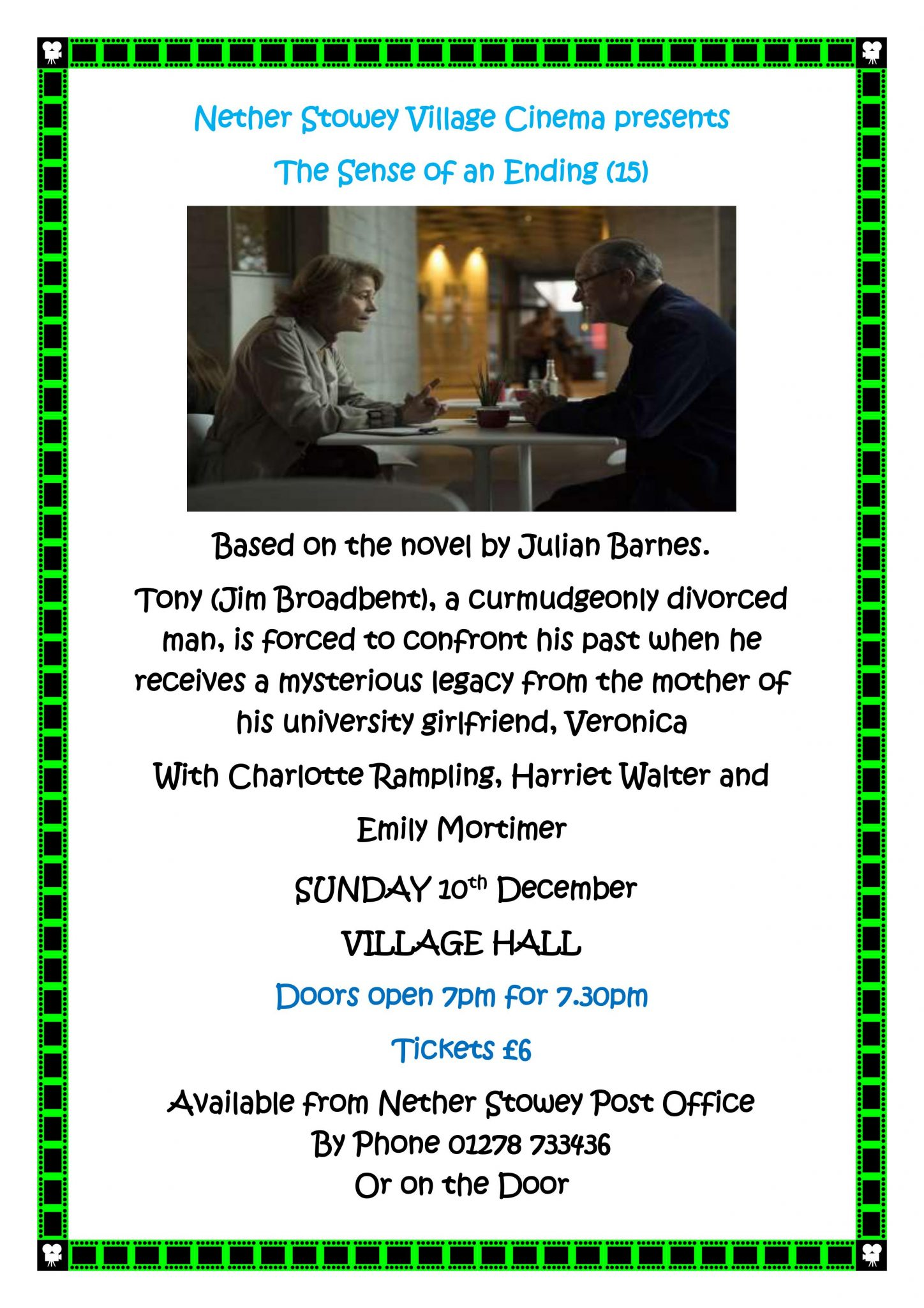 """""""The Sense of an Ending"""" at Nether Stowey Village Cinema @ Nether Stowey Village Hall 