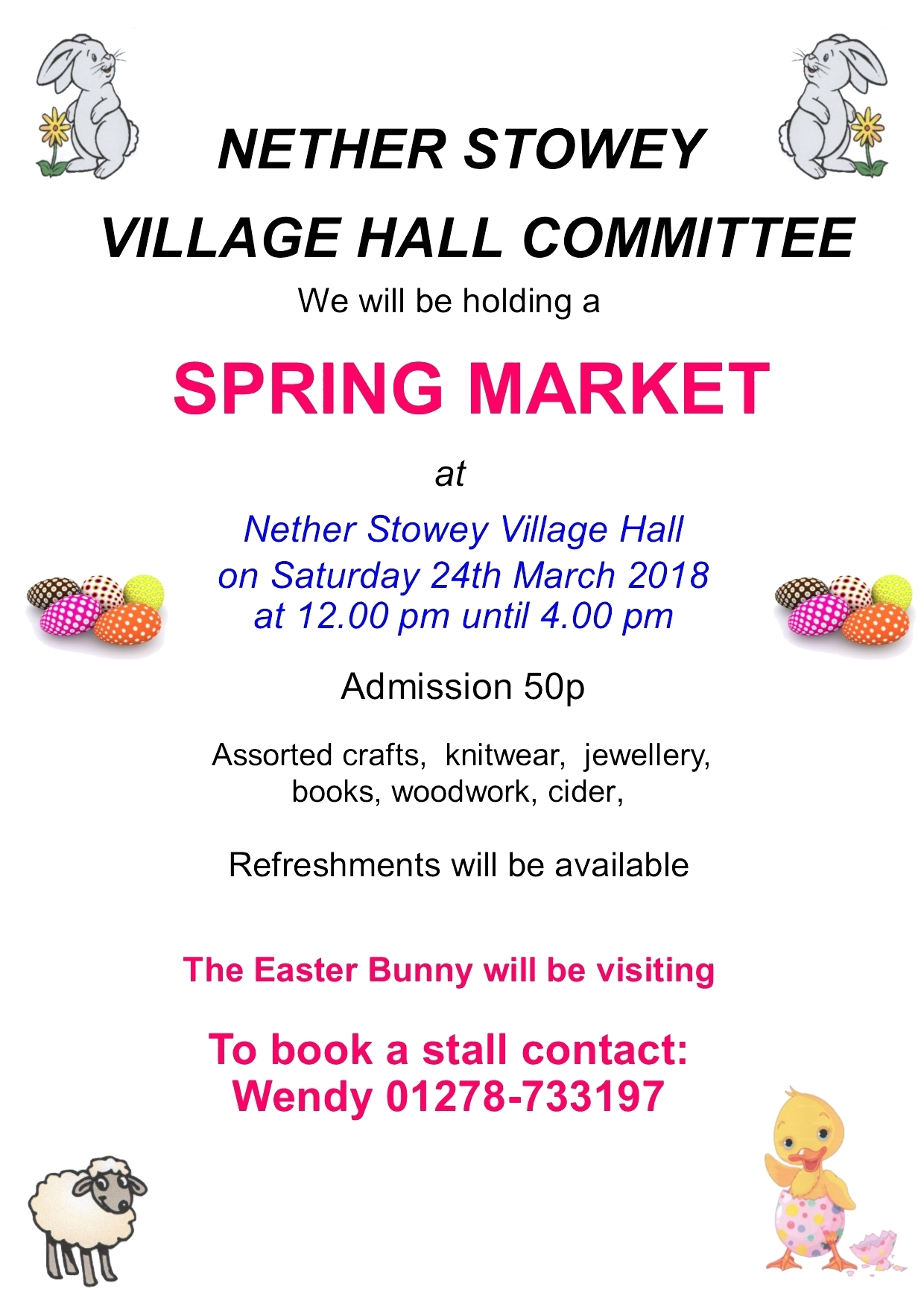 Nether Stowey Village Hall Committee Spring Market @ Nether Stowey Village Hall | Nether Stowey | England | United Kingdom