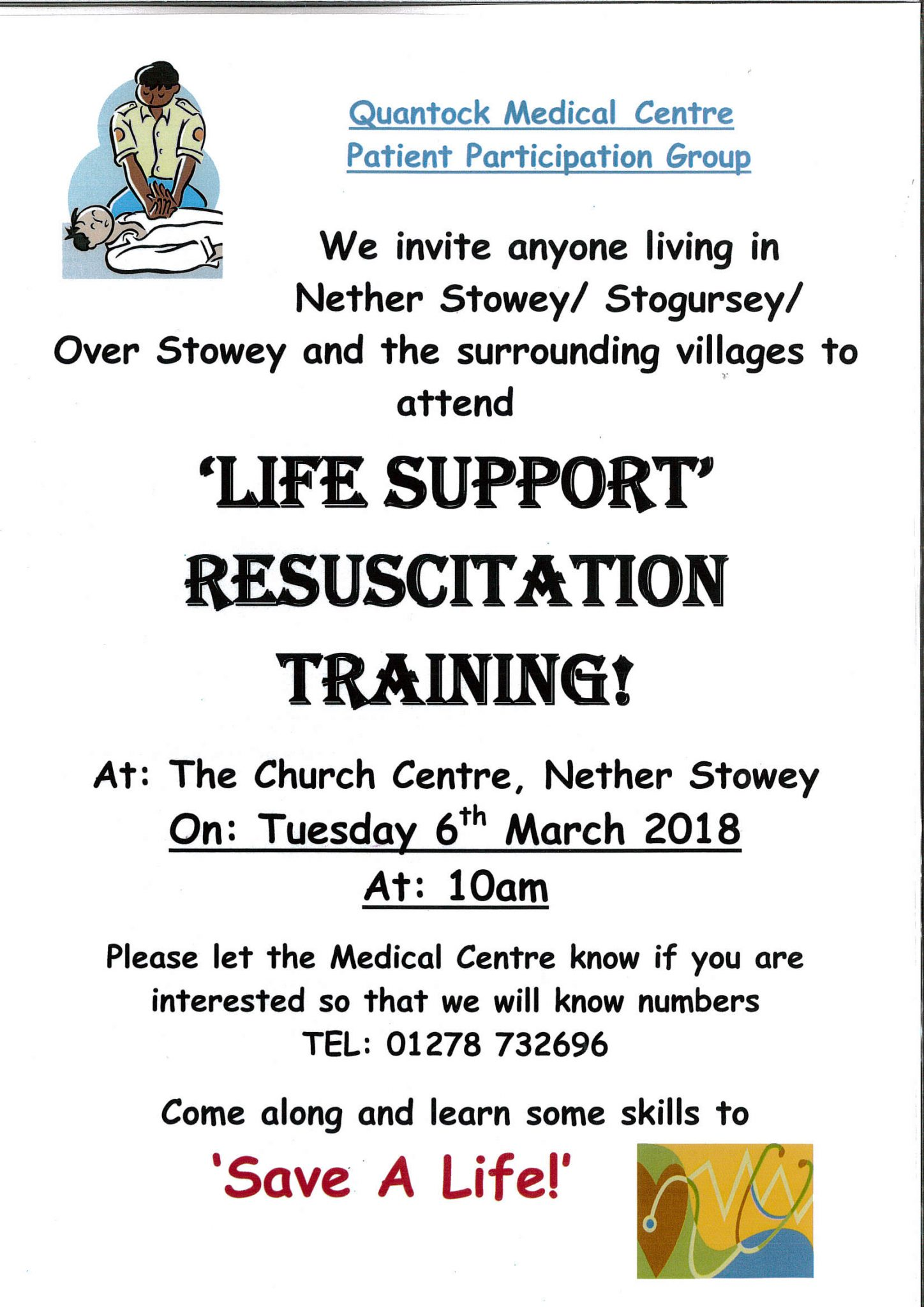 Quantock Medical Centre 'LIFE SUPPORT' RESUSCITATION TRAINING! @ Church Centre | Nether Stowey | England | United Kingdom