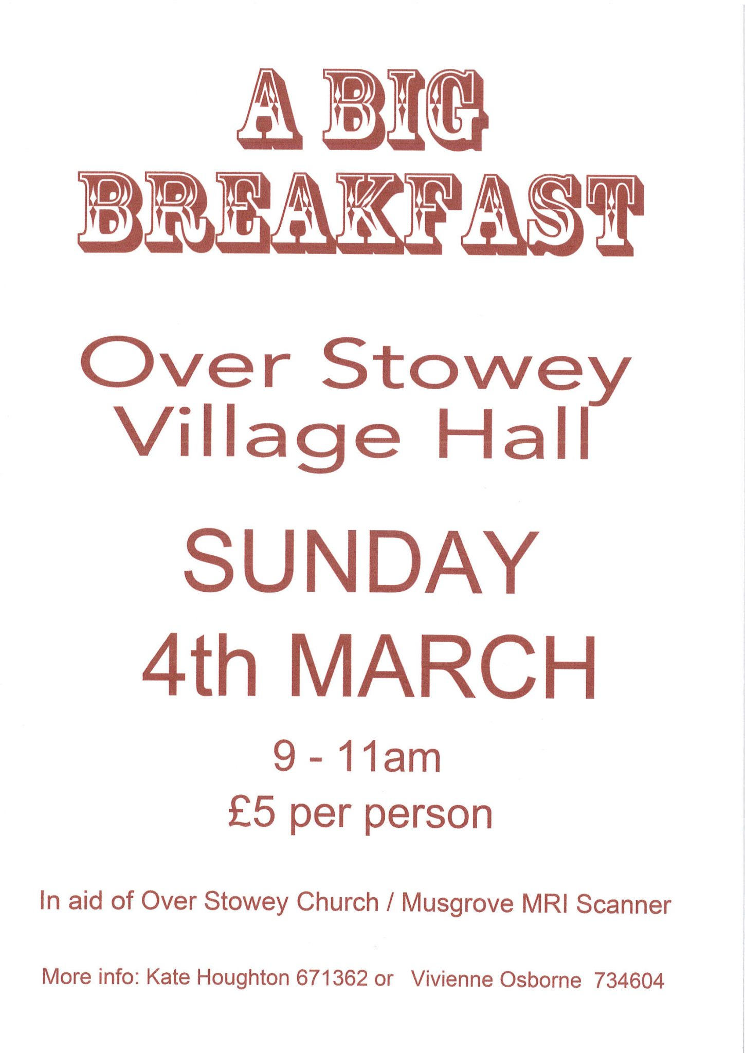 'A Big Breakfast' @ Over Stowey Village Hall | Over Stowey | England | United Kingdom