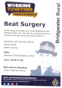 Police Beat Surgery @ Quantock Cafe (Post Office) | Nether Stowey | England | United Kingdom