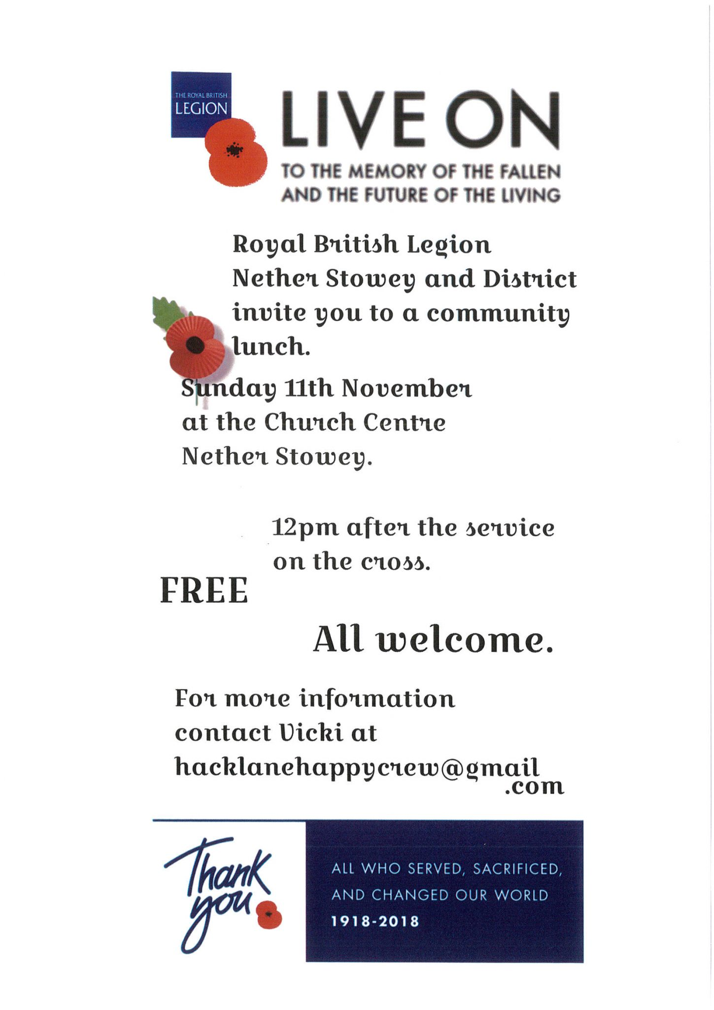 Royal British Legion Nether Stowey and District community Lunch @ St Mary's Church Centre | Nether Stowey | England | United Kingdom