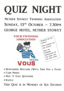 Nether Stowey Twinning Association Quiz @ The George