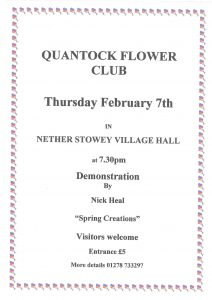 "Quantock Flower Club presents a demonstration by Nick Heal ""Spring Creations"" @ Nether Stowey Village Hall"