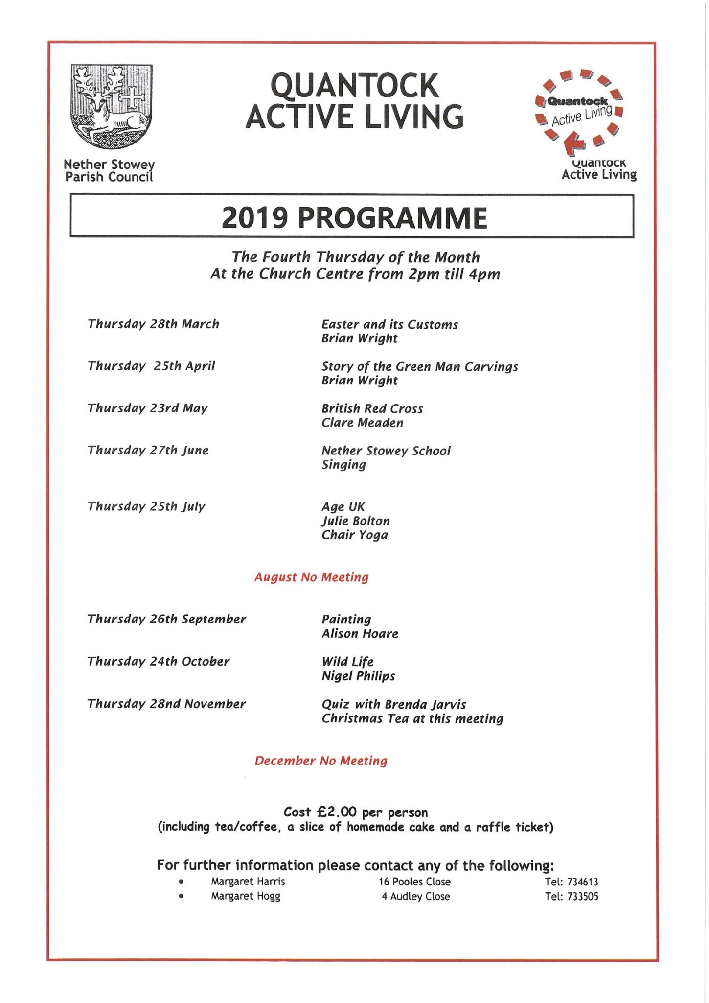 Quantock Active Living 2019 Programme @ St Mary's Church Centre