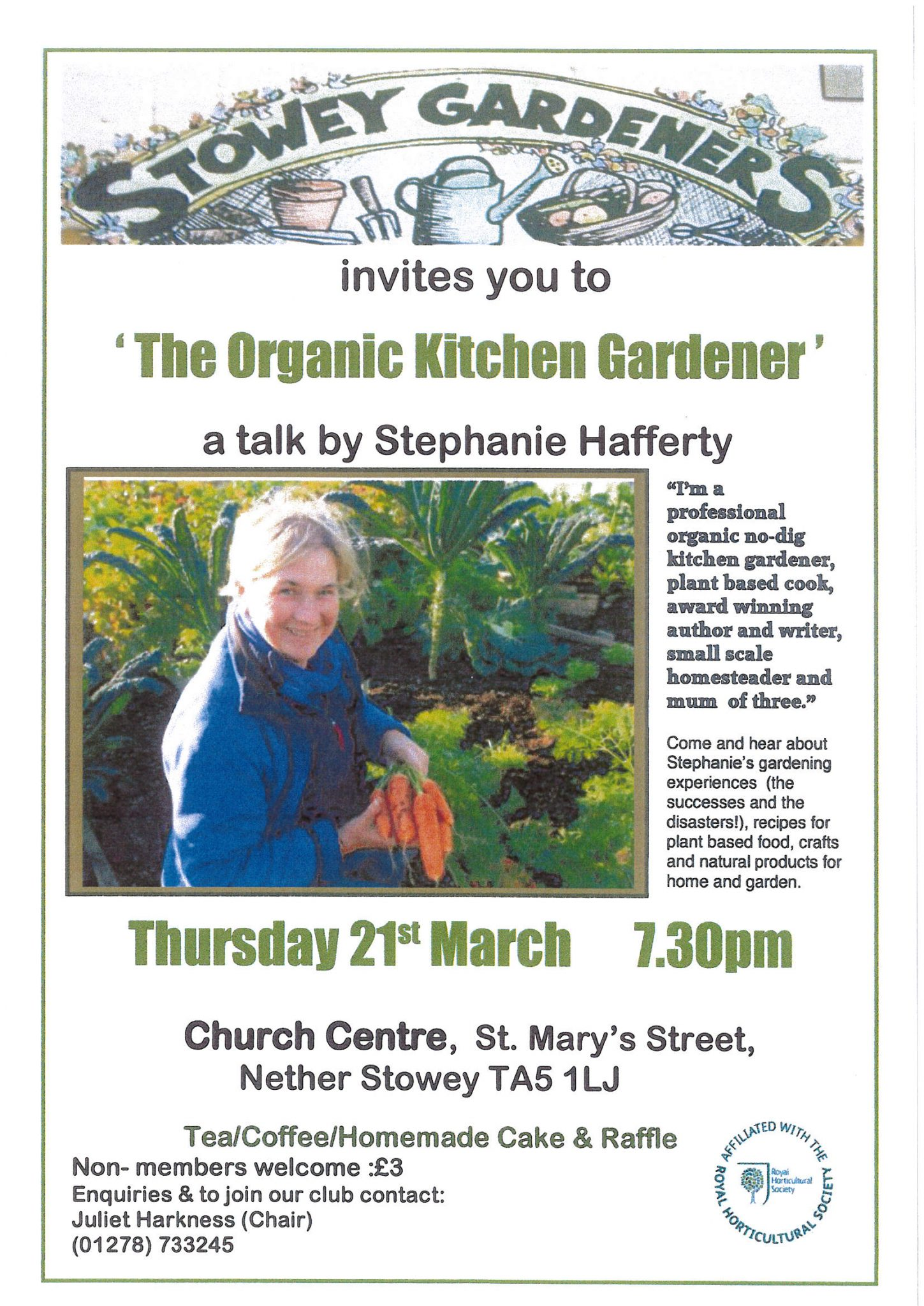 Stowey Gardeners invites you to 'The Organic Kitchen Gardener' a talk by Stephanie Hafferty @ Church Centre St Mary's Street