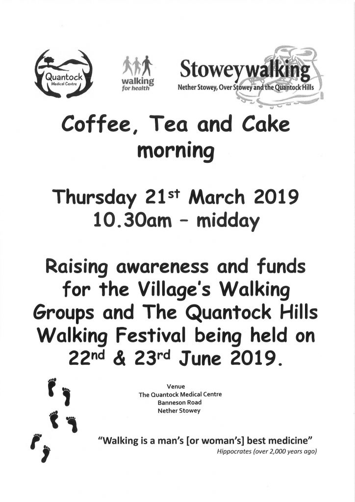 Stowey Walking are holding a Coffee, Tea and Cake morning @ The Quantock Medical Centre
