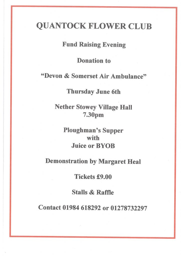 "Quantock Flower Club Fund Raising Evening donation to ""Devon Air Ambulance"" @ Nether Stowey Village Hall"