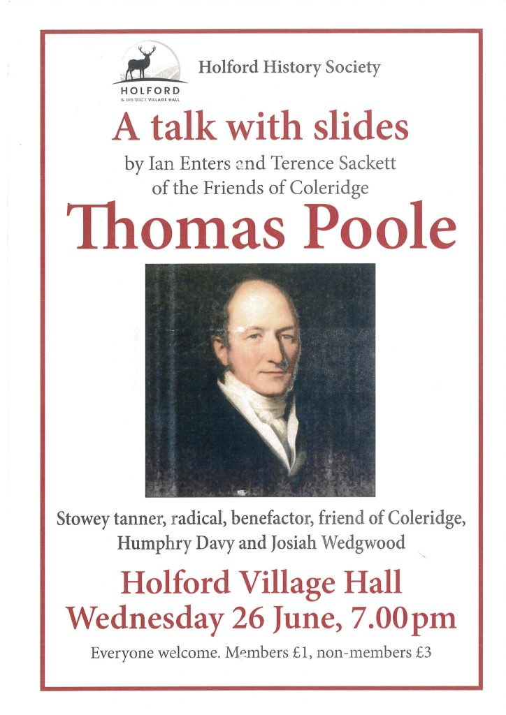 Holford History Society presents a talk with slides on Thomas Poole @ Holford Village Hall