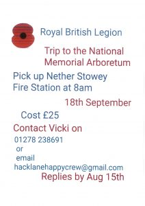 Royal British Legion 'Trip to the National Memorial Arboretum'