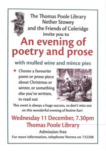 The Thomas Poole Library and the Friends of Coleridge invite you to 'An Evening of Poetry and Prose' @ Thomas Poole Library