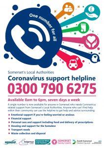 Coronavirus Support helpline 0300 790 6275