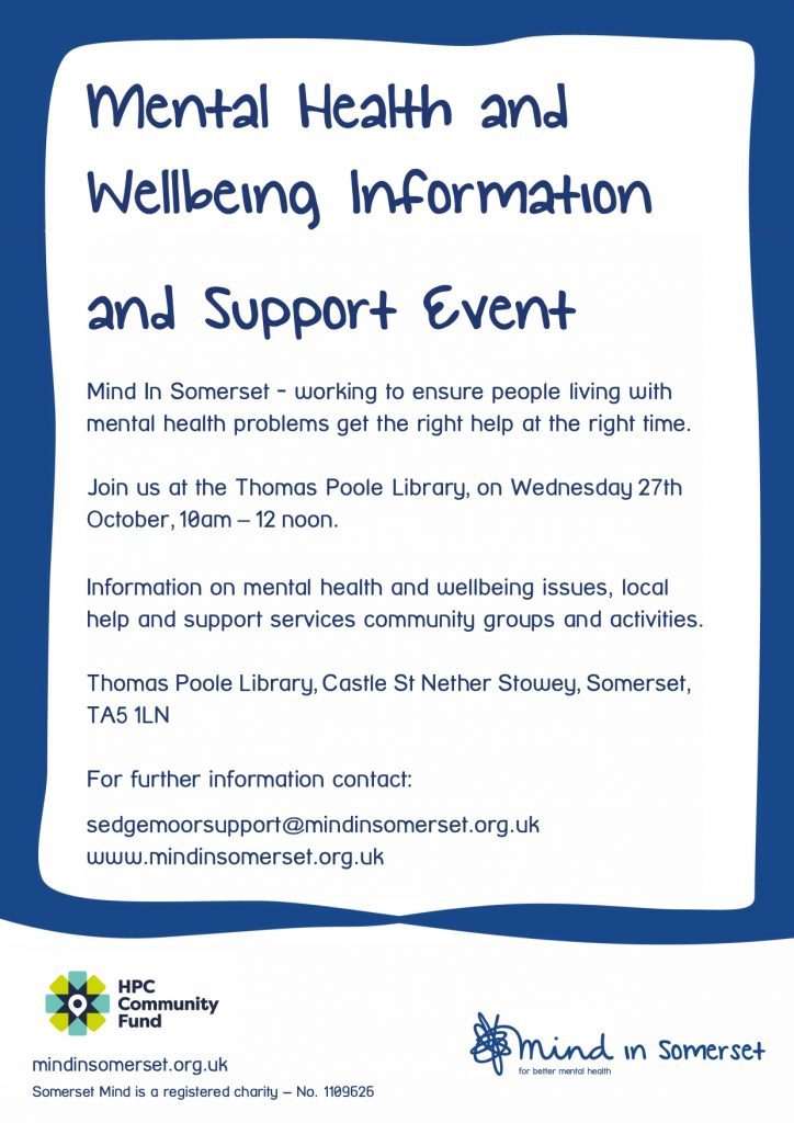 MIND in Somerset: Mental Health and Wellbeing Info and Support Event @ Thomas Poole Library